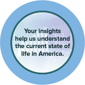 circle with blue border that says: your insghts help us understand the current state of life in America.