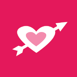 romantic life icon: pink square with cupid heart