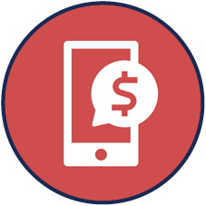 payment survey icon: cellphone with $ on it