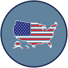 political climate icon: united states maps filled with U.S. flag