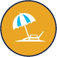 recent vacation icon: beachchcair and umbrella